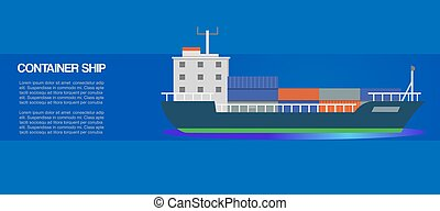 Container sailing ship cartoon vector illustration. Seagoing...