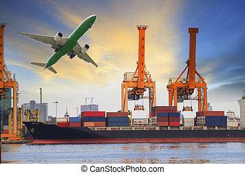 container schip, inlading, op, porto, en