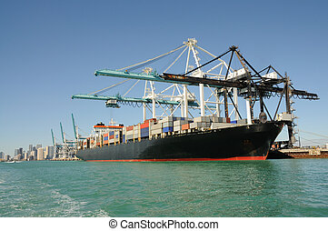 container schip, op, industriebedrijven, porto