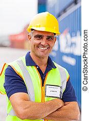 container, senior, arbeider, bedrijf, expeditie