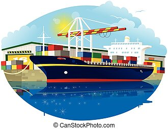 Container ship and dock crane