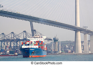 container ship and modern bridge