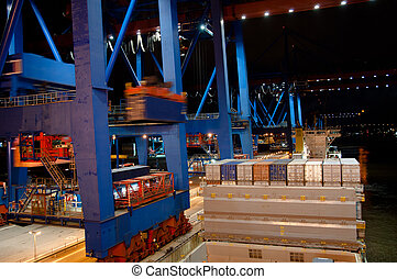 Container Ship being (un)loaded