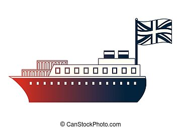 container ship boat transport english flag vector...