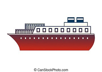 container ship boat transport maritime vector illustration...