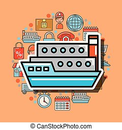 container ship cargo logistic and delivery vector...