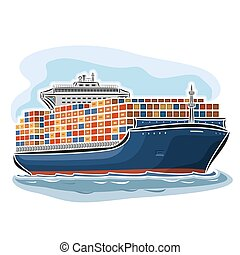 Container ship carrier - Vector illustration of logo for...