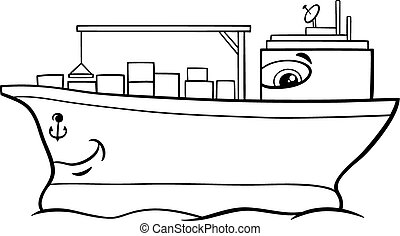 container ship cartoon coloring page