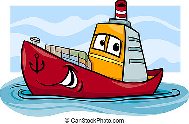 Cartoon Illustration of Funny Container Ship Comic Mascot Character