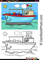 container ship character coloring book