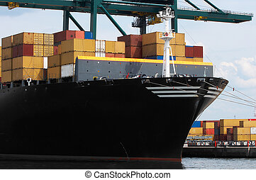 Container ship closeup