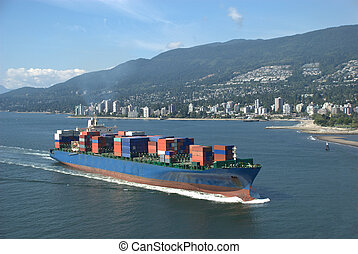 Container Ship - Container ship approaching the port of...