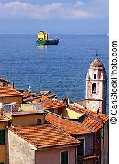 Container Ship - Gulf of La Spezia Italy - Container ship in...