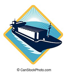 container-ship-high-angle - vector illustration of a...