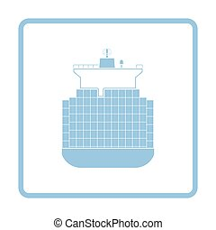 Container ship icon. Blue frame design. Vector illustration.