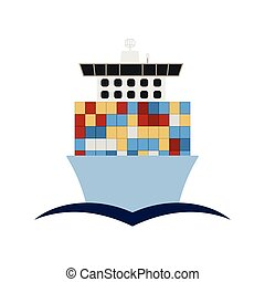 Container Ship Icon - Container ship icon front view. Flat...