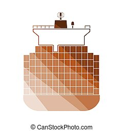 Container Ship Icon. Flat Color Ladder Design. Vector...