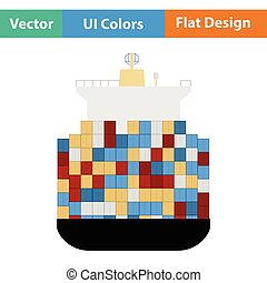 Container ship icon. Flat design. Vector illustration.