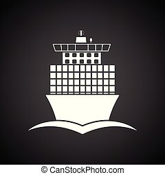 Container ship icon front view. Black background with white....