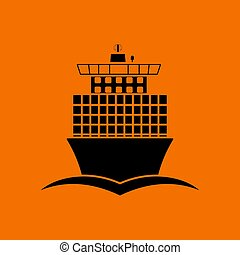 Container ship icon front view. Black on Orange background....