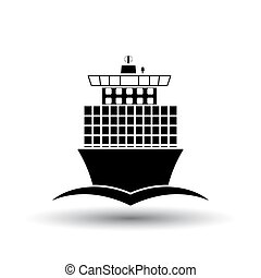 Container ship icon front view. Black on White Background...