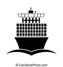 Container Ship Icon Front View. Black on White. Vector...