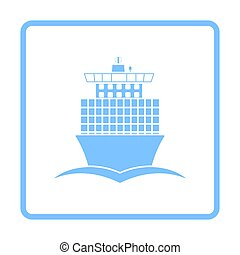 Container Ship Icon Front View. Blue Frame Design. Vector...