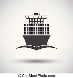Container ship icon front view on gray background, round...