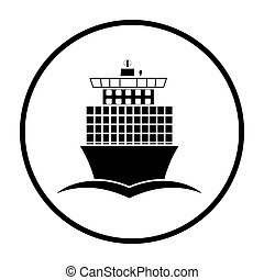 Container ship icon front view. Thin Circle Stencil Design....