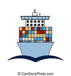 Container Ship Icon. Outline With Color Fill Design. Vector...