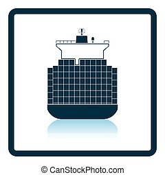 Container ship icon. Shadow reflection design. Vector...