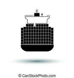 Container ship icon. White background with shadow design....