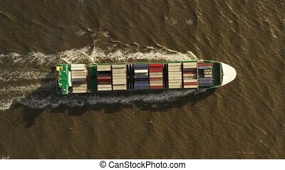 Container ship in export and import. International shipping...