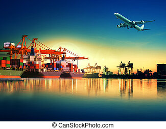 container ship in import, export port against beautiful morning light of loading ship yard use for freight and cargo shipping vessel transport
