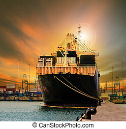 container ship in import export ship yard use for comercial freight, cargo and logistic industry business