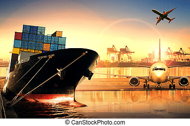 container ship in import,export port against beautiful morning light of loading ship yard use for freight and cargo shipping vessel transport