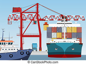 Container ship in port and large port crane
