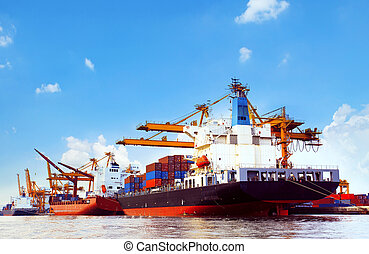 container ship in port cargo dock with piers crane tool use...