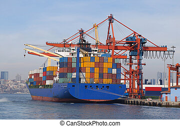 Container Ship in port - Container Ship is loading in a port
