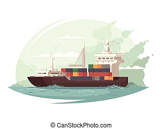 Container ship in sea - Container ship cargo transports in...