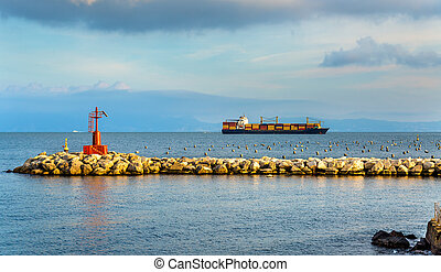 Container ship in the Gulf of Naples