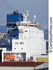 container ship in the harbour of la spezia