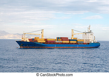 Container Ship in the Mediterranean Sea.