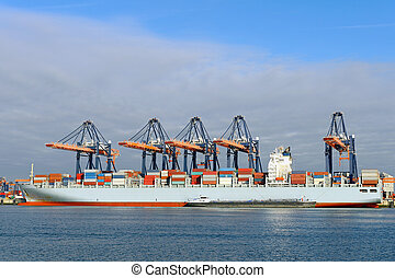 container ship in the port of rotterdam