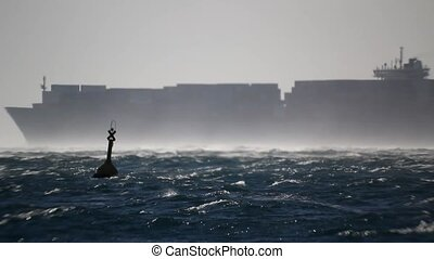 Container ship in the windstorm