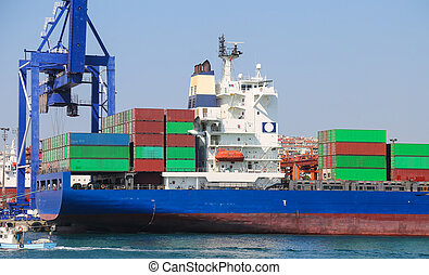 Container Ship is loading in a port