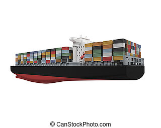 Container ship isolated back view