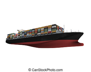 Container ship isolated front view