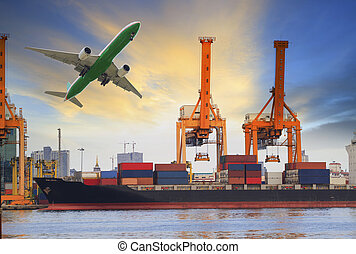 container ship loading on port and cargo plane flying above...
