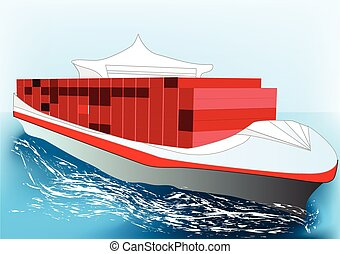 container ship. nonexistent ship with industrial container